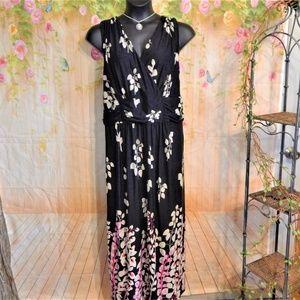 2X Beautiful Black w/Pink & Cream Floral Maxi